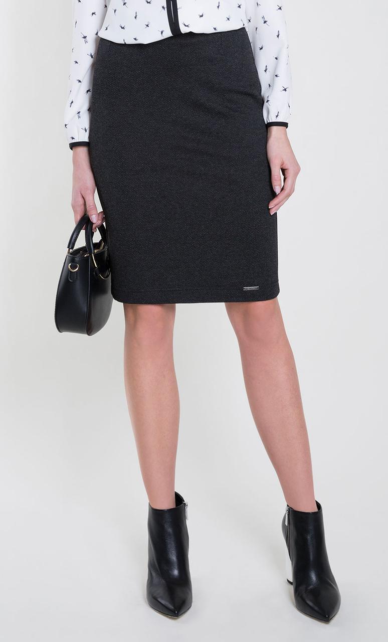 Женская трикотажная юбка-карандаш цвета графит. Модель Stella Zaps. Размеры S,XL