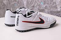 Футбольные сороконожки Nike Tiempo Genio TF White/Black/Crimson, фото 1
