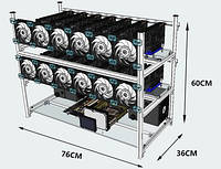 Майнер (Ферма) GPU на 12 Видеокарт RX 580 8g (Sapphire_rx580_8g_x12)