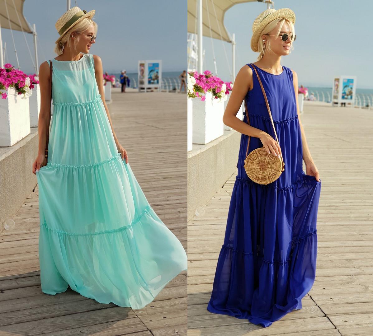a1b008bd773 Женское длинное платье-разлетайка с рюшами -