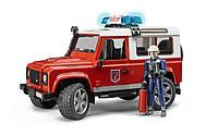 Машина Bruder - джип пожарный Land Rover с фигуркой пожарного 02596