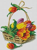 Набор для творчества камнями Корзина тюльпанов 35х47см