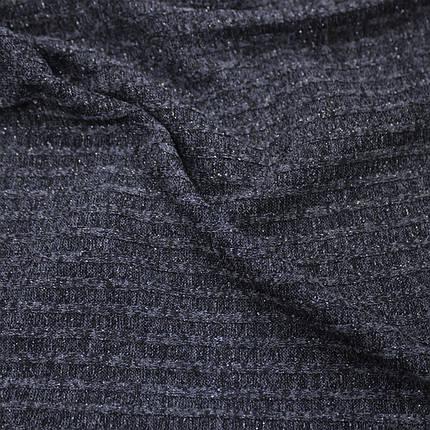 Трикотаж ангора полоска люрекс темно-синяя, фото 2