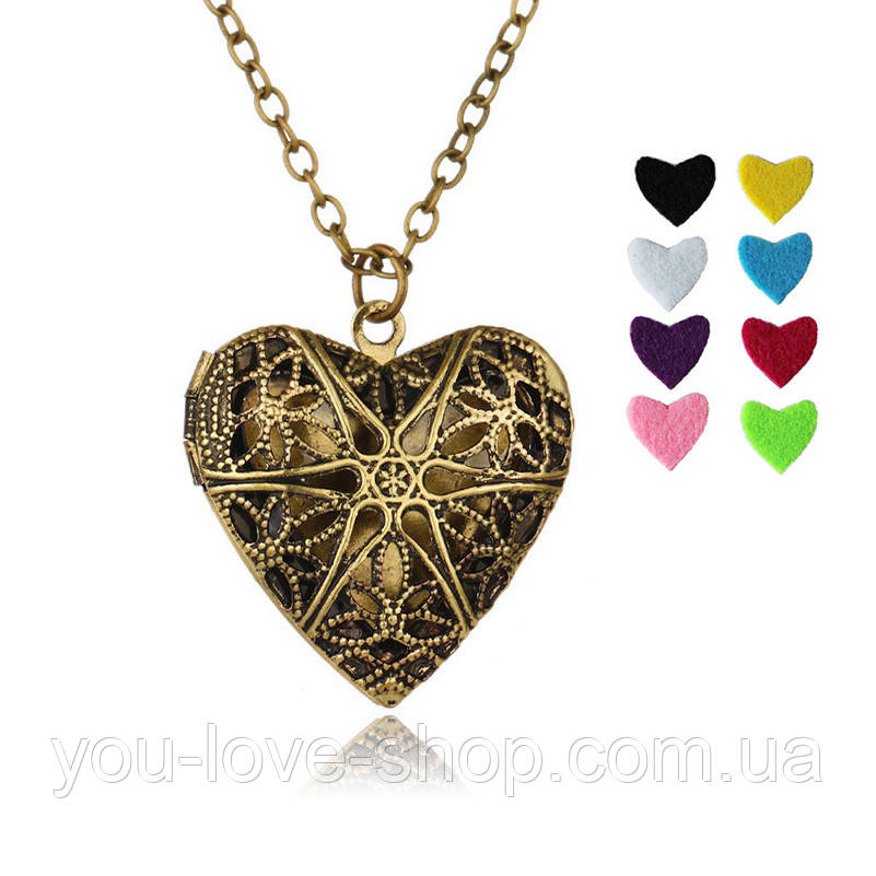 Аромамедальон сердце серебристого цвета для аромамасел и любимых духов бронза