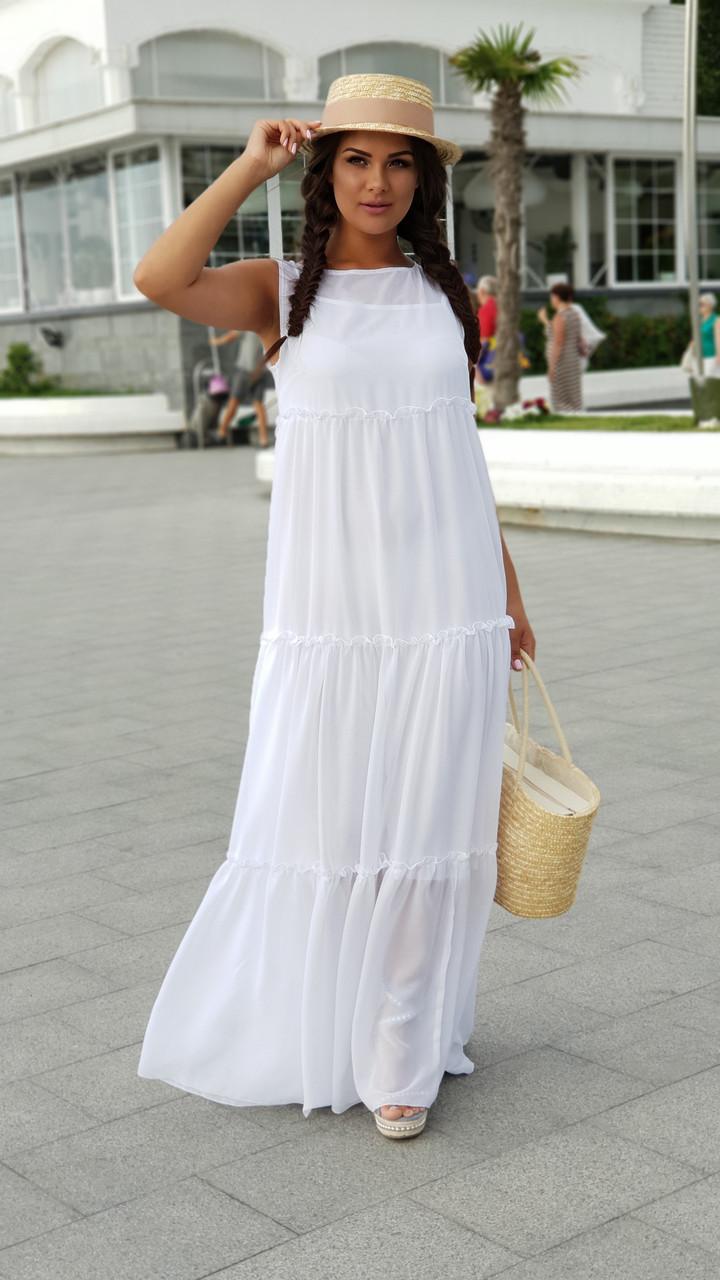 d596eae2d62 Длинное белое платье из шифона размер 48-52 -