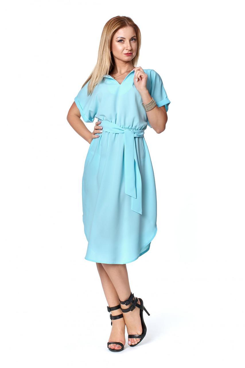 Летнее оригинальное женское платье с поясом 44