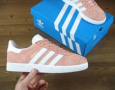 Жіночі кросівки Adidas Gazelle Pink/White, фото 3
