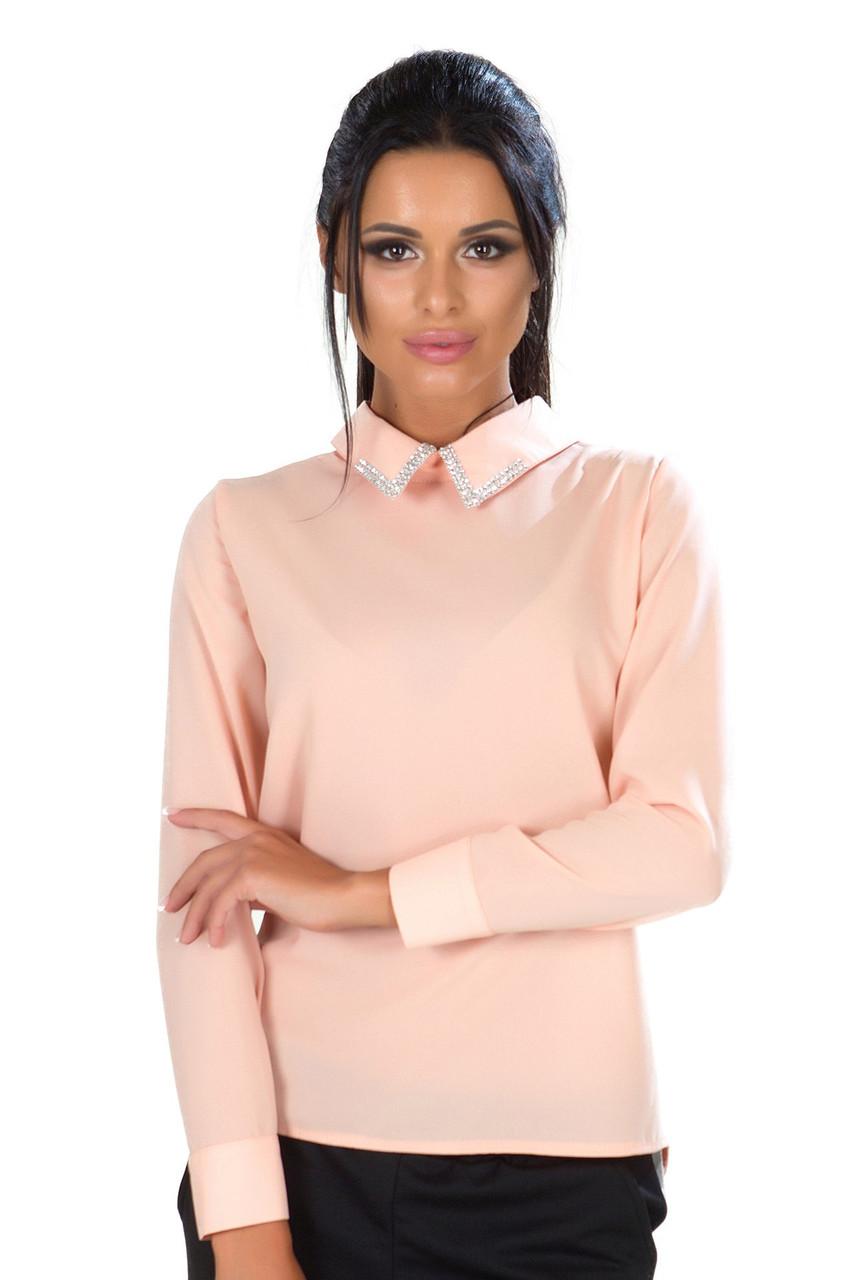 2dcc91f9030 Женская персиковая блузка длинный рукав -