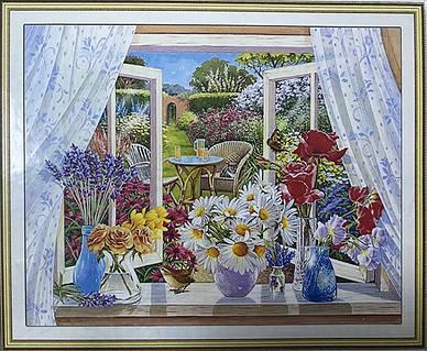 """Алмазная вышивка 50х40см на подрамнике 3D - набор """"Цветы на окне"""""""