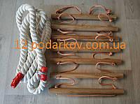 Деревянная детская верёвочная лестница (оранжевая) плюс Канат хб 26мм для шведской стенки