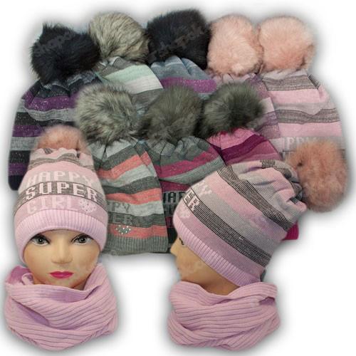 ОПТ Шапка и шарф для девочки, р. 52-54 (5шт/набор)