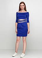 Женский трикотажный комплект юбка и топ электрик цвет