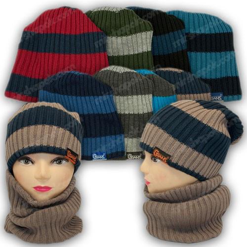 ОПТ Комплект для мальчика - шапка шарф хомут (труба), р. 50-52 (5шт/набор)