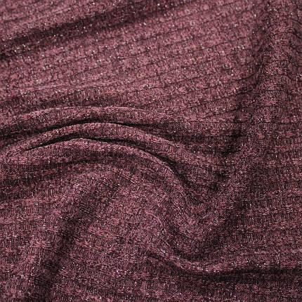 Трикотаж ангора полоска бордовая с люрексом, фото 2