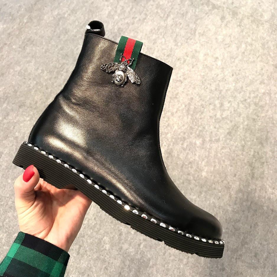 d6c370ed Женские черные кожаные ботинки GUCCI Италия -