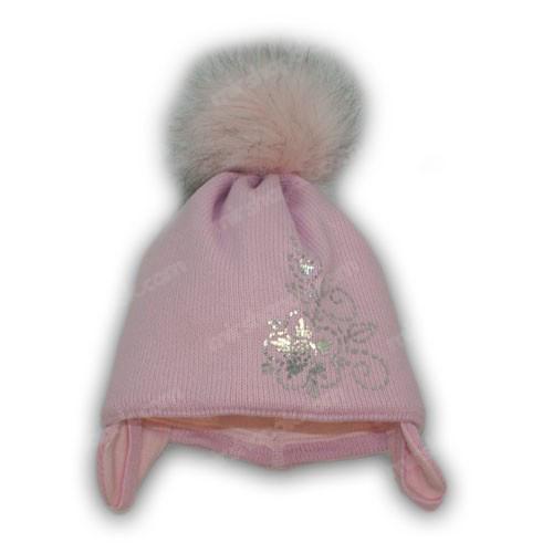 шапка с помпонами для девочки