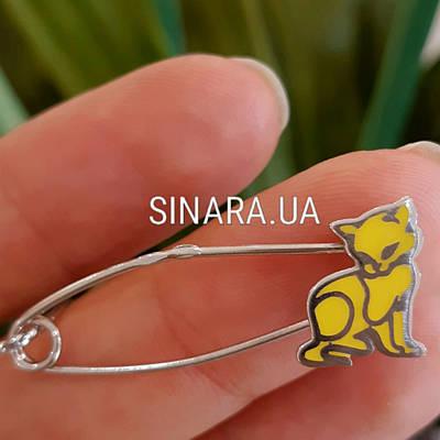 Срібна шпилька з Кішкою - Срібна родированная булавка Кішка - Дитяча срібна шпилька