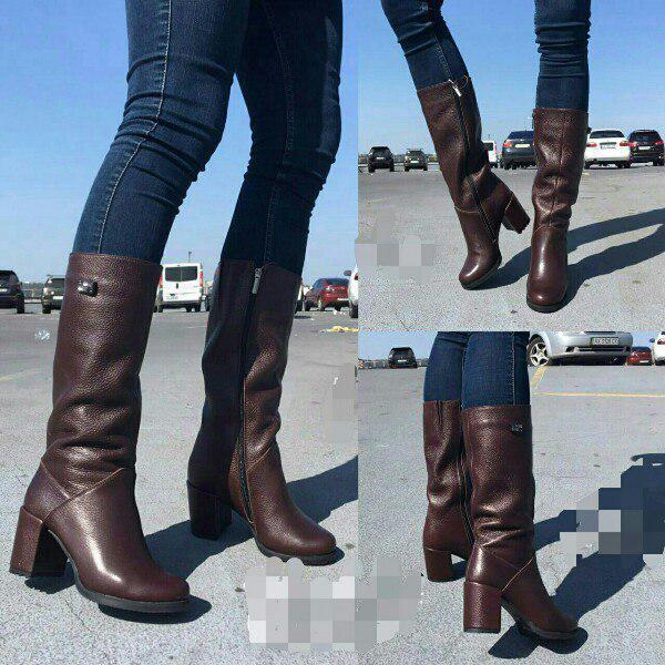 87e77b2f4 Коричневые кожаные сапоги на устойчивом каблуке (осень, зима ...