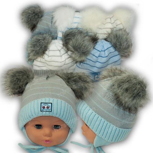 ОПТ Шапка с помпонами для новорожденных, р. 38-40 (5шт/набор)