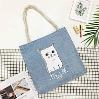 Женская летняя пляжная сумка Cat голубого цвета