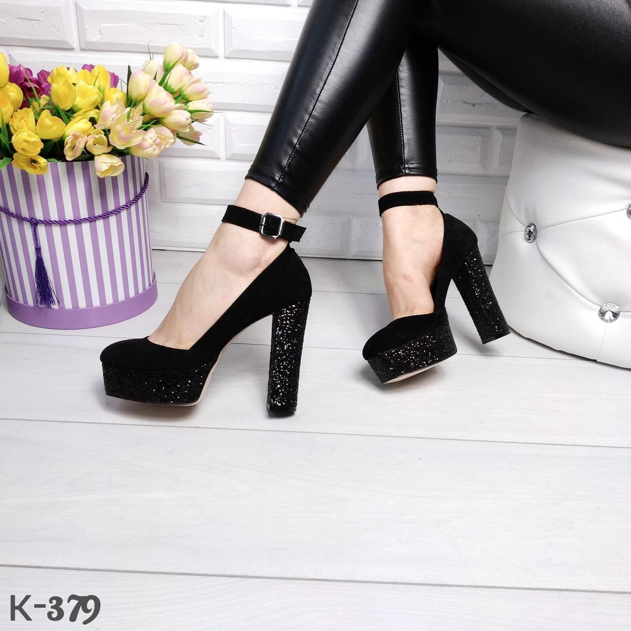 600860e46 Черные замшевые туфли на платформе с ремешком на блестящем каблуке -