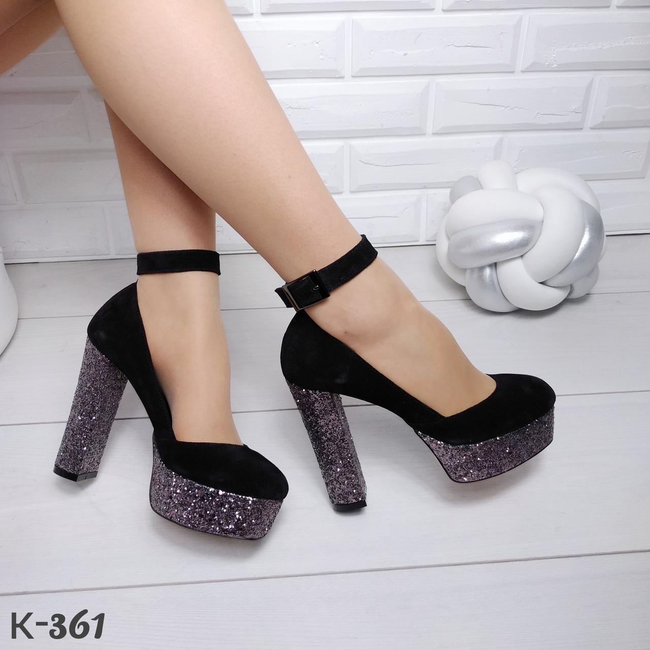 a501c68db Черные замшевые туфли на платформе с ремешком на блестящем каблуке ...