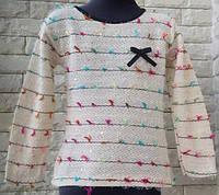 """Милая легкая кофточка-свитер """"Бантики"""" на девочку 4-8 л"""