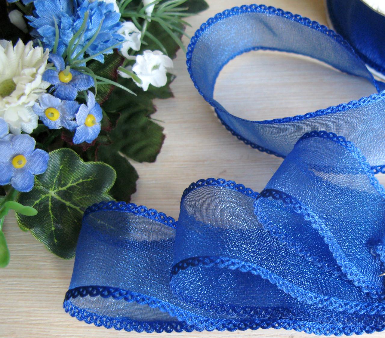 Лента органза с ажурным краем 2.5 см синяя