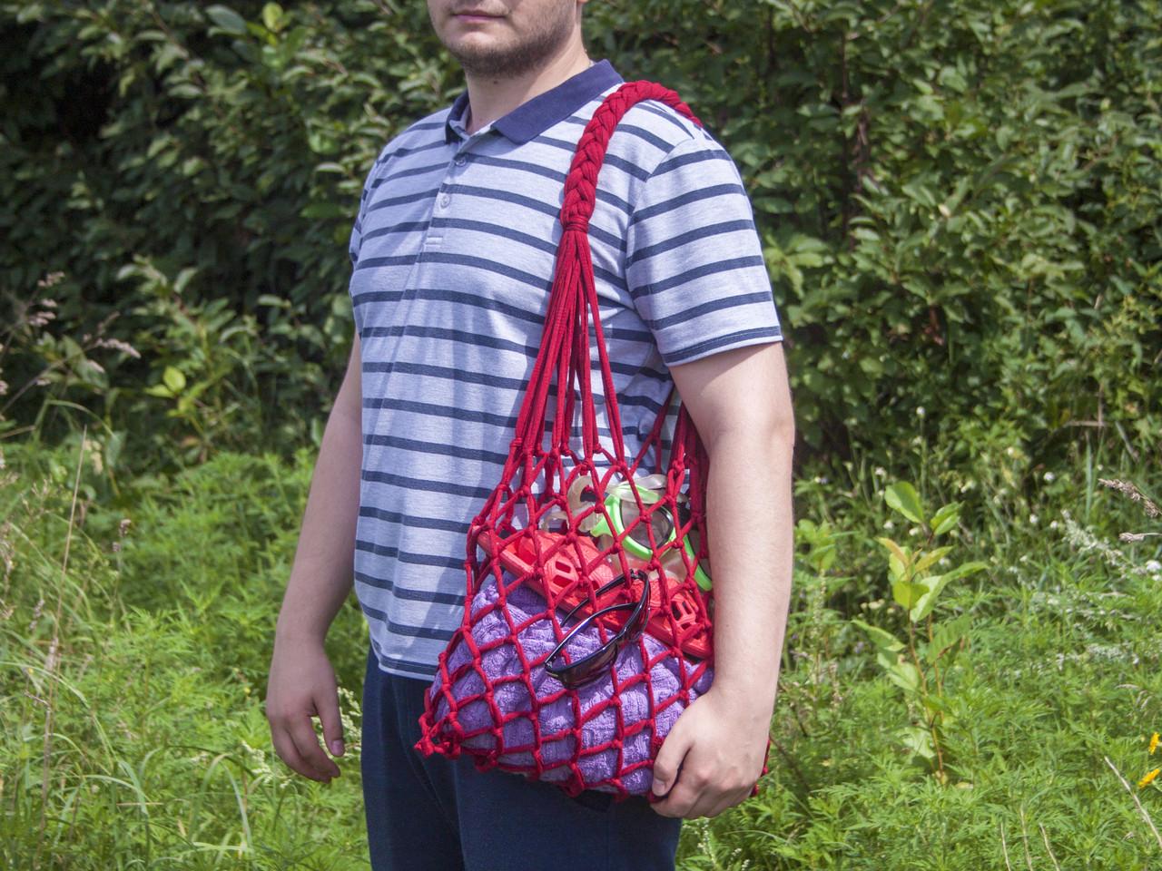 Авоська - Сумка на плечо - Красная сумка - Пляжная сумка - Хлопковая сумка