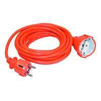 Шнур УШ-01РВ оранжевый с круглою вилкой и розеткой 2P+PE 3х1/10метров  ИЭК