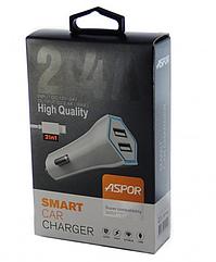Автомобильное зярядное устройство  Aspor- A901C iPhone (2USB+2.4A) +кабель LED белый
