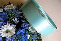 Лента атласная с люрексом цвет - тифани 2.5 см