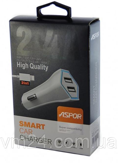 Автомобильное зярядное устройство  Aspor- A901C micro (2USB+2.4A) +кабель LED белый