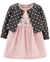 """Платье с кофточкой Картерс """"Розовый котик"""" 3м,6м,9м,12м,18м,24м"""