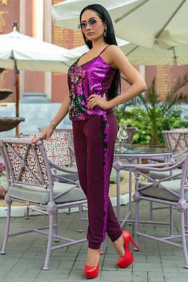 Летний брючный костюм с пайетками. Марсала, 4 цвета. Р-ры: 42,44,46,48,50.