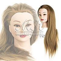 Учебная голова 30% натуральных волос,длина 65-70 см, цвет пшеничный, фото 1