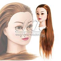 Учебная голова 20% натуральных волос,длина 65-70 см, цвет темное золото