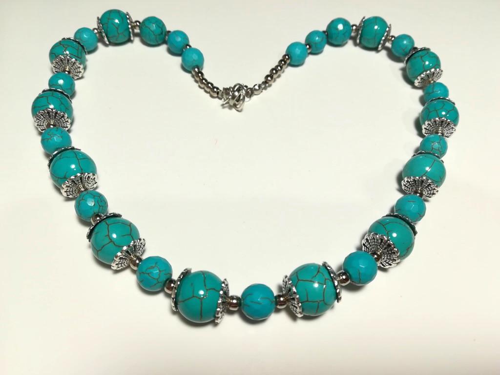 Колье из Бирюзы, натуральный камень, цвет голубой и его оттенки, длина 50 см, тм Satori \ Sk - 0007