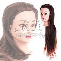 Учебная голова 20% натуральных волос,длина 65-70 см, цвет коричневый