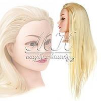 Учебная голова 30% натуральных волос,длина 65-70 см, цвет белый