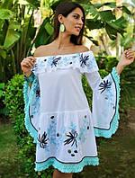 df6d0b501b1174d Яркое летнее платье в стиле бохо с вышивкой, бахромой и рукавом колокольчик