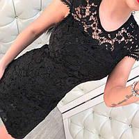 Модное женское черное платье гипюр