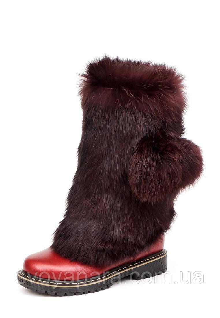 Сапоги унты детские зимние красные кожаные (00593)