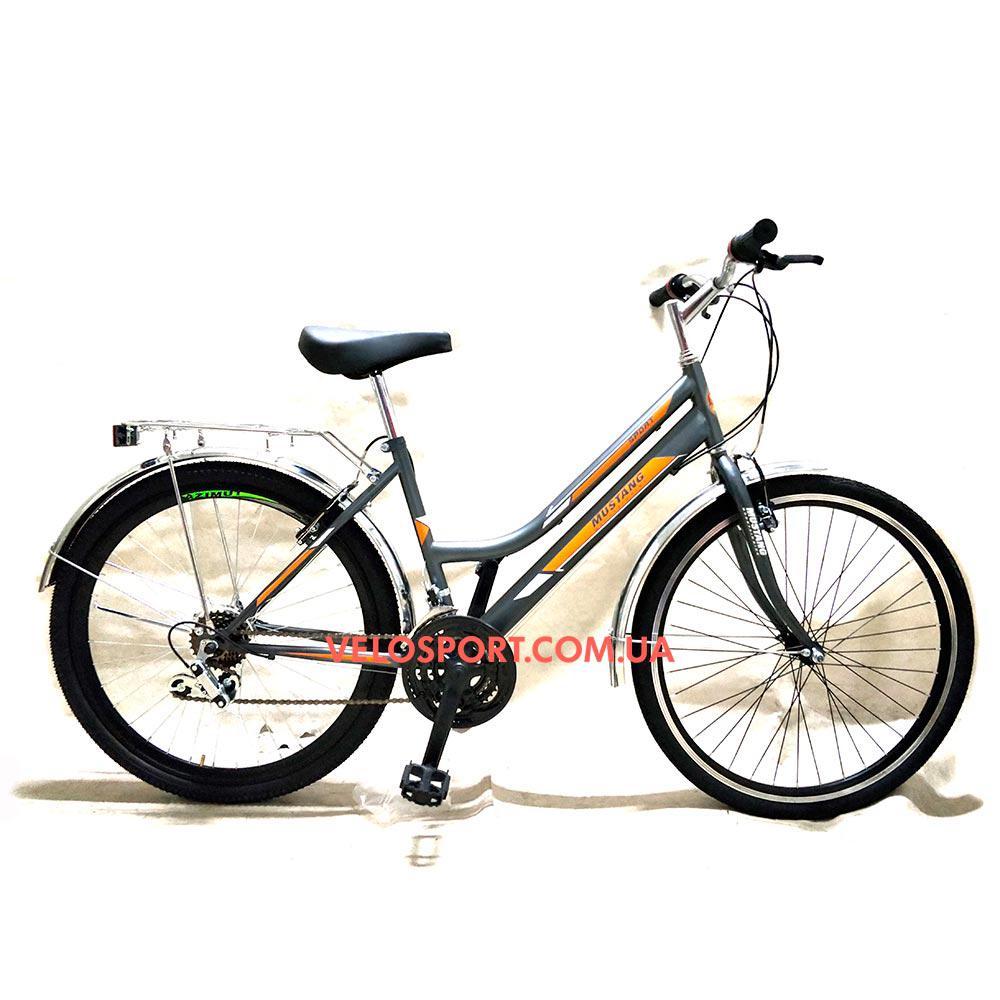 Городской велосипед Mustang Sport 26 дюймов серо-оранжевый