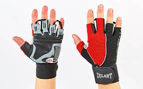 Перчатки спортивные многоцелевые ZEL ZB-6166 (кожзам, откр.пальцы, р-р M-XL, черный-красный)