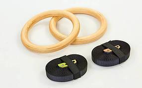 Кольца гимнастические для Кроссфита FI-4862 (ленты-нейлон длина-4,5м, кольцо-дерево d-23,5см)