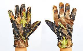 Перчатки спортивные теплые флисовые BC-301-2 (флис, PL закр. пальцы, р-р M-XL, камуфляж Realtree)
