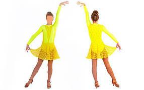 Платье Рейтинговое (бейсик) с гипюром UR DR-1641-Y (р-р RUS-32-42,рост 122-164см, желтый)