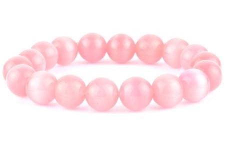 Браслет из натурального камня Кошачий глаз розового цвета
