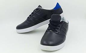 Обувь спортивная мужская (р-р 40-44) Кожа AD 1208-BK (верх-кожа, подошва-TPU, черный)